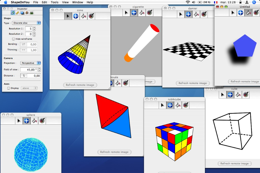 application that can display and animate different vectorial 3D shapes.